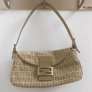 Fendi Beige Canvas Baguette Bag